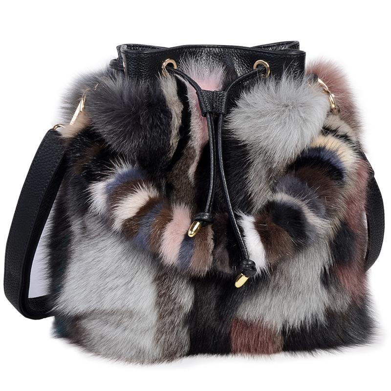 d46e2d7dba High End Ladies Real Fox Fur Bucket Bag Women Tote Bags Genuine Leather  Design Shoulder Bag Cowhide Handbag Evening Party Purses Designer Handbags  From ...