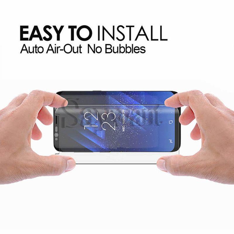 Caso de vidrio templado amigable para Samsung Galaxy S9 Note 8 S8 Plus S7 Edge Caso de pantalla curvo 3D Protector de pantalla para teléfono con paquete