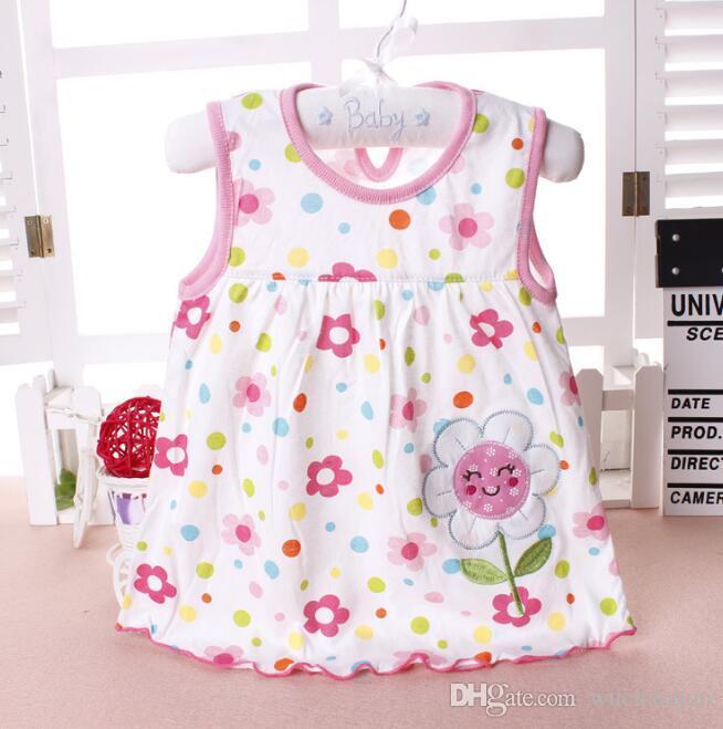39 styles baby girl cotton dresses summer cartoon skirt embroidered kids sleeveless A line dot flower striped princess dress BY0144