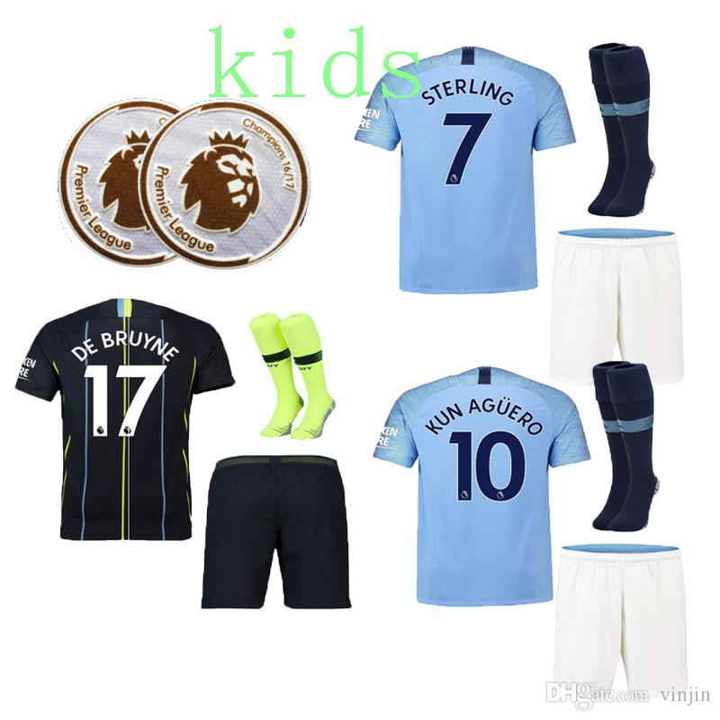 18d7e2b07 2019 Manchester City Kids Home Away 2018 2019 Football Shirts 17 DE BRUYNE  7 STERLING 26 MAHREZ 19 SANE 14 LAPORTE 10 KUN AGUERO 4 KOMPANY From  Vinjin