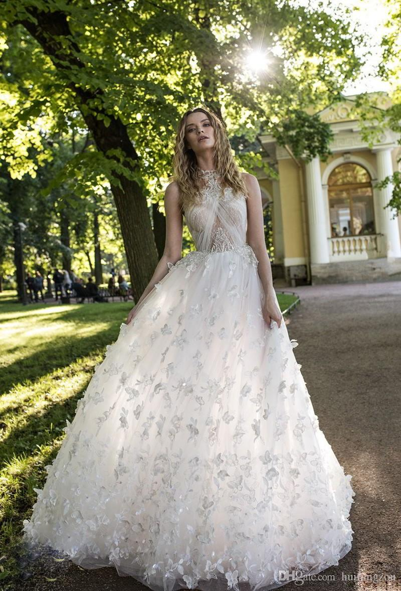 Charmante Lian Rokman A Line Brautkleider 3D Schmetterling Applique Nach Maß Illusion Böhmen Brautkleider Sexy Back robe de mariée