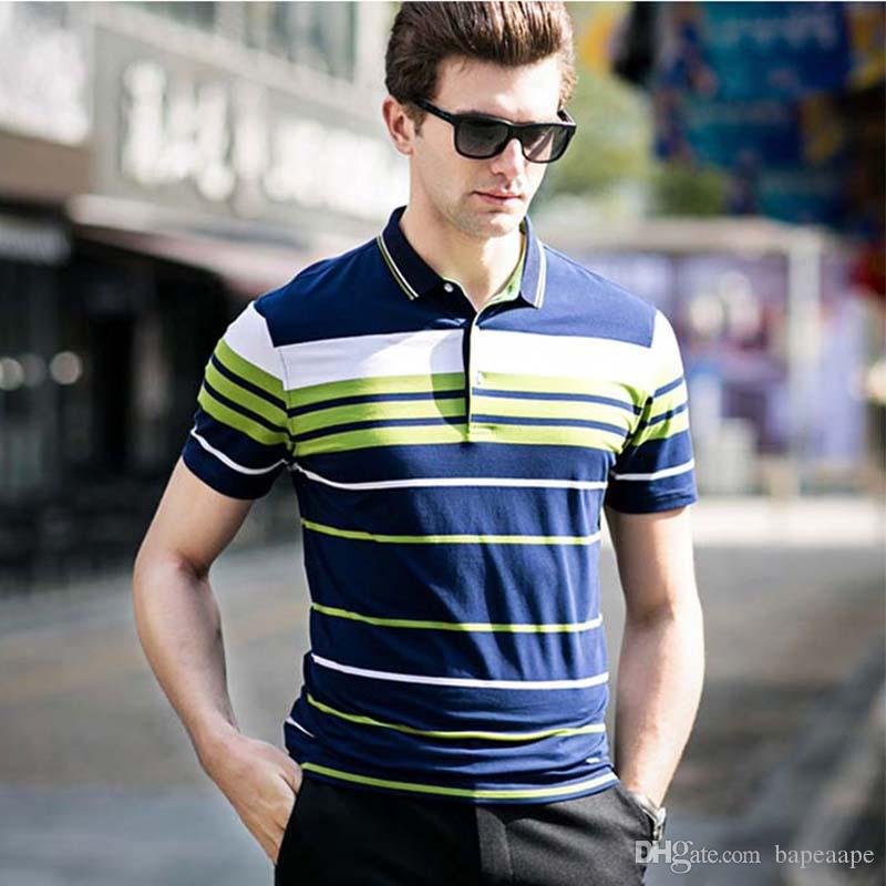 457065c78d765 Brand Men's V-neck T-Shirt 2018 Summer Style Classic Striped Short Sleeve T  Shirt Top Fashion Men Slim Fit Man Top Tees Shirt