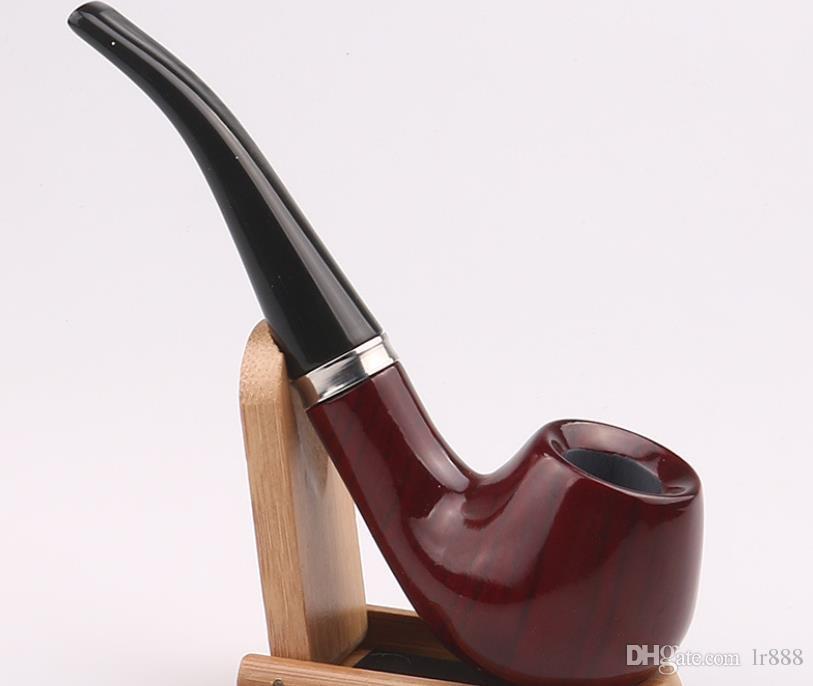 Novo tubo de sândalo vermelho, cano de jacarandá artesanal, conjunto de fumo de sândalo preto.
