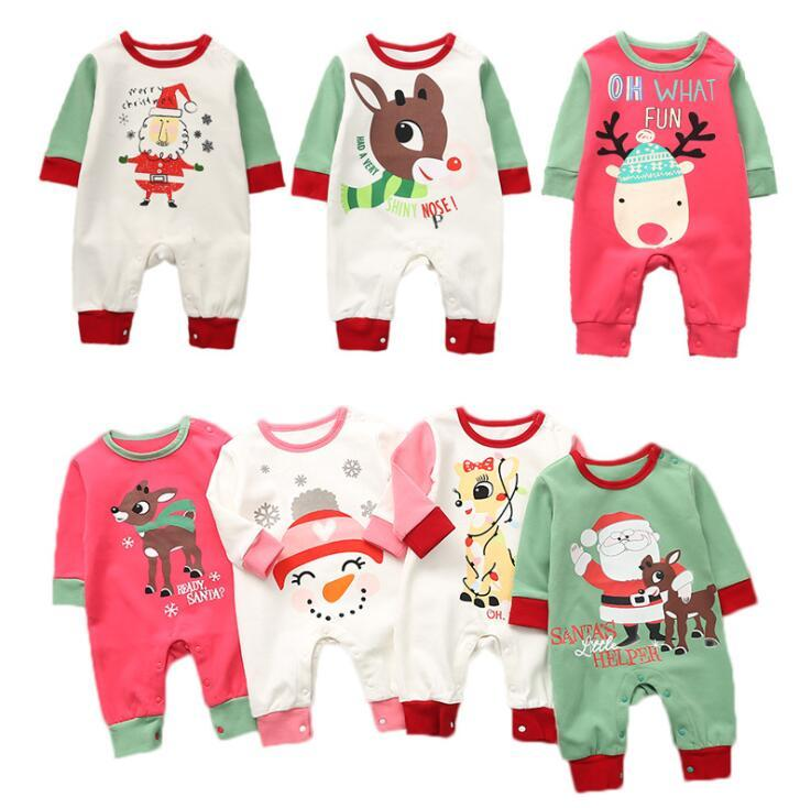 Christmas Baby Romper 7 Styles Santa Claus Xmas Printed Jumpsuits Lovely Kids Children Infant Climbing Clothes OOA5412