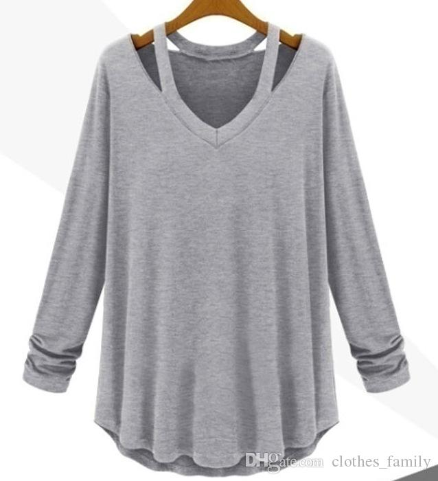 Top 2020 New High Quality Women Fashion Spring T-Shirt Casual Long Strapless Blouse V-Neck Shirt Cotton Blouse Sexy Plus Size T-Shirts