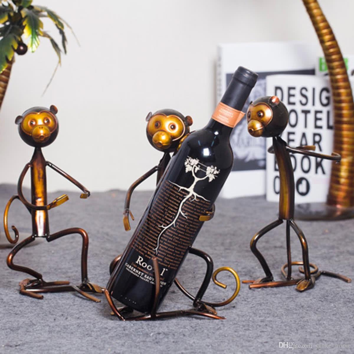 2019 Modern Handcrafts Metal Art Monkey Shaped Figurines Wine Rack