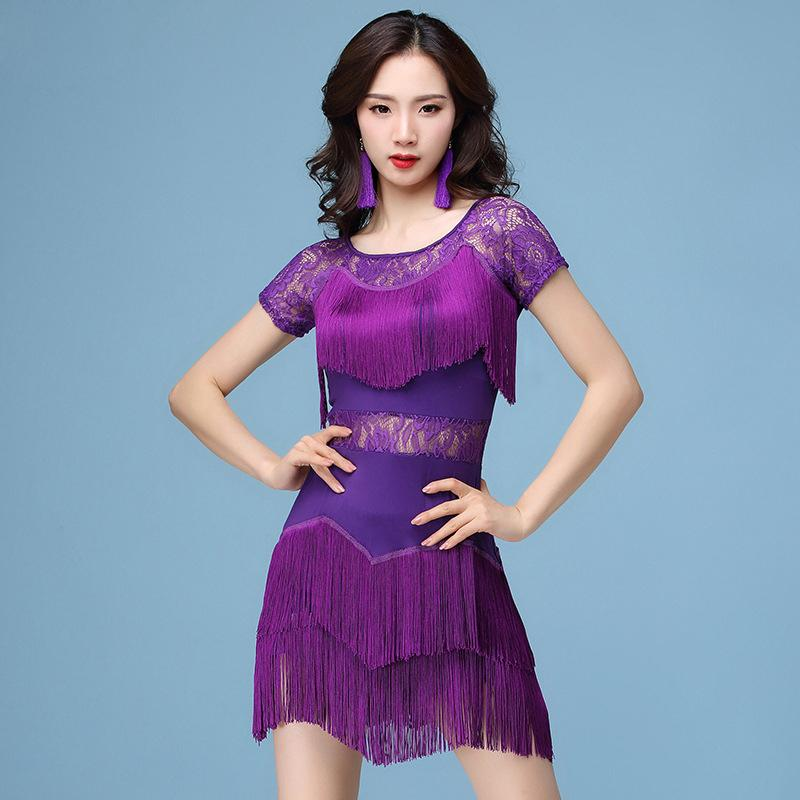 526c7f60fab78 2019 New Fashion 2018 Women Dance Costume Set Dress Salsa Samba Short  Sleeves Floral Lace Women Latin Dance Dresses With Earrings From  Liangcloth, ...