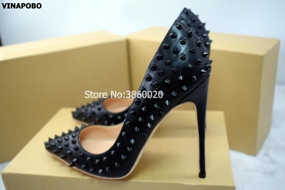 2502eecf8cb 2019 Newest Rivets Women Black matt leather Pumps Sexy Pointy Toe Ladies  12CM High Heels Fashion Party Stiletto Wedding shoes