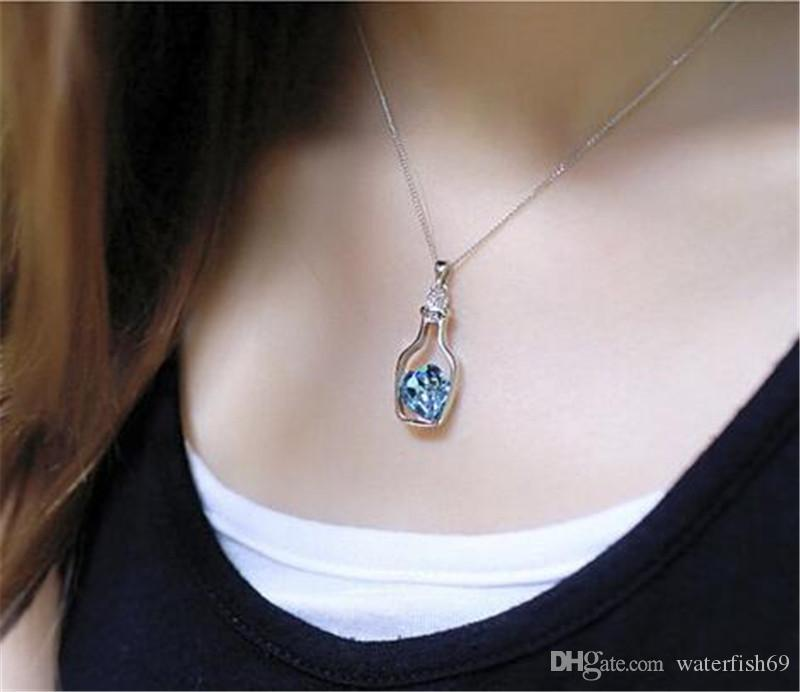 Luxury Jewelry Silver Color with Wish Bottle Inlay Love Heart Crystals Vial Pendant Necklace for Women Gift