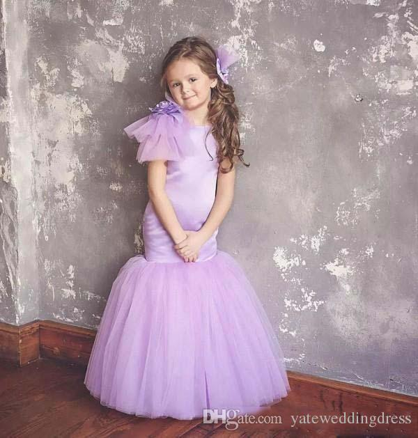 Lavender Beautiful Flower Girl Dresses Jewel Sleeveless Mermaid Birthday Gowns Back Zipper Custom Made Party Gowns With Hand Made Flowers