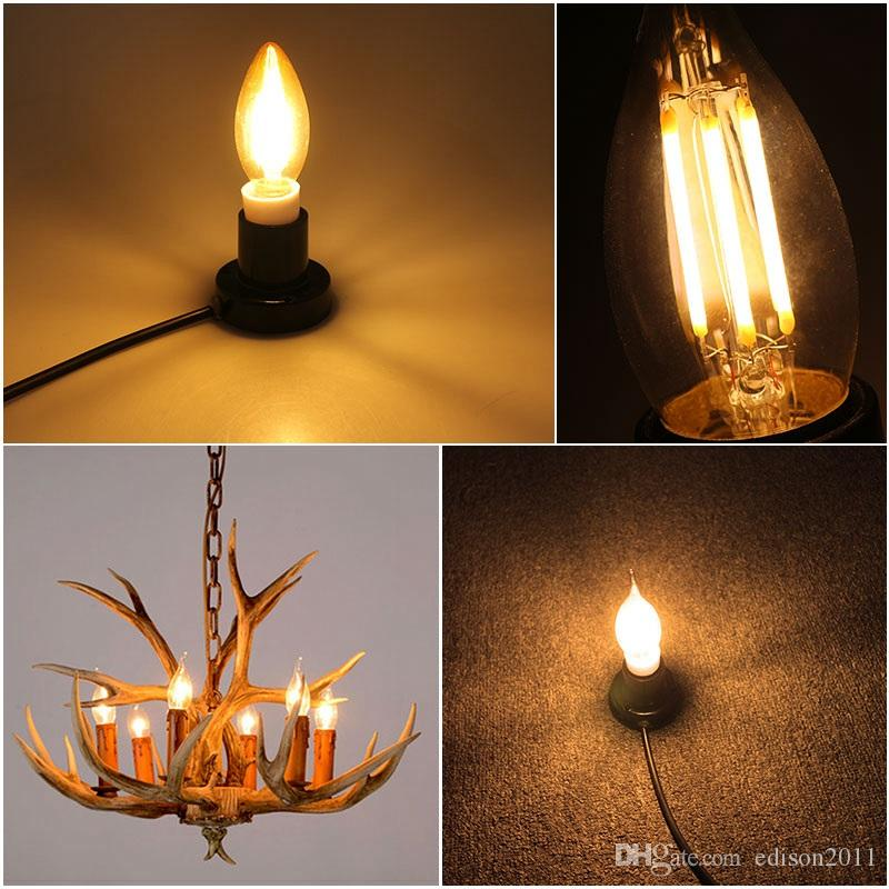 Edison2011 E27 E14 E12 E17 2W 4W 6W 220V 110V C35 디 밍이 가능한 레트로 필 라 멘 트 LED 전구 램프 촛불 샹들리에 밤 빛