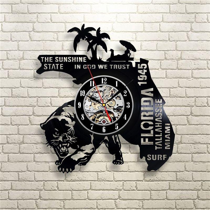 Usa Florida Vinyl Wall Clock Modern Home Decor Crafts Creative