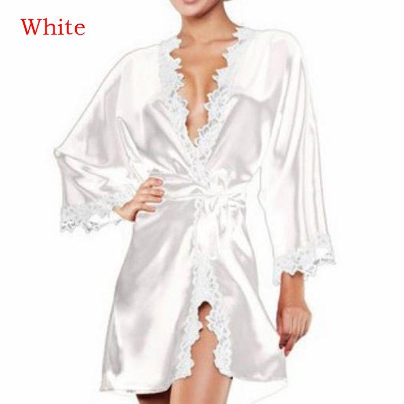 b730687ef Compre Mulheres Curto De Cetim De Noiva Robe De Verão Da Dama De Honra  Pijamas Sexy Vestido De Casamento Do Laço De Seda Quimono Roupão De Banho  De Hognyeni ...