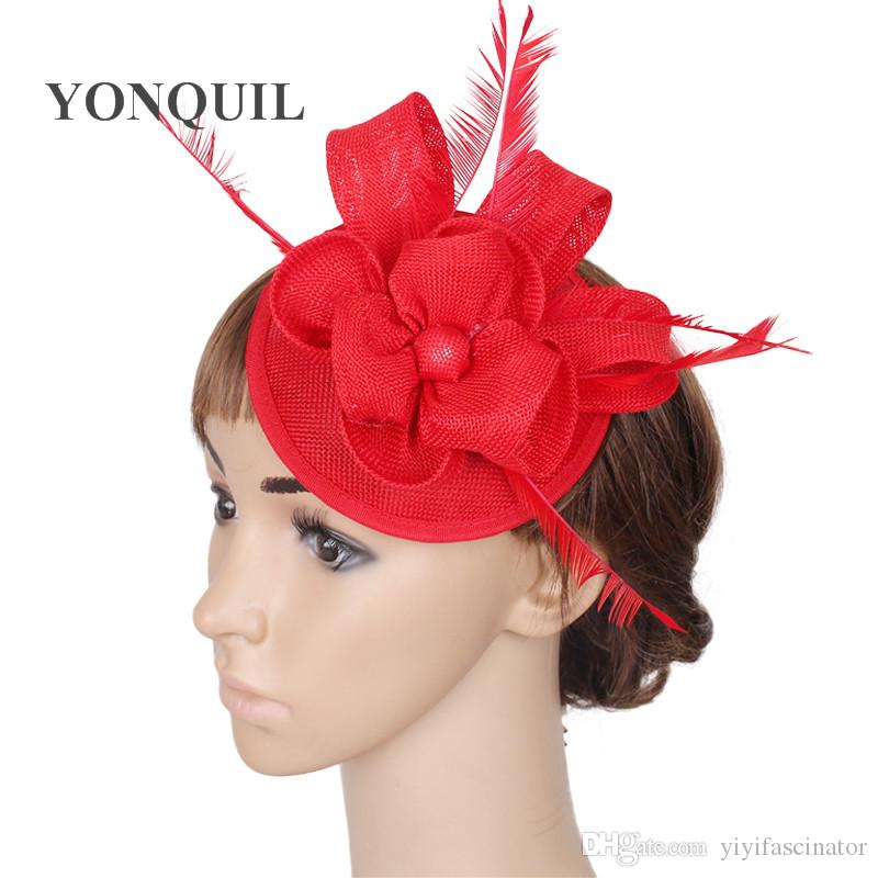 Beautiful DIY Floral Ladies Red Weddings Fascinators Hats Hot Pink Pillbox  Hat Fedora Cap Bridal Married Headdress With Fancy Feather SYF30 Bridal Top  Hats ... eb559a875d4