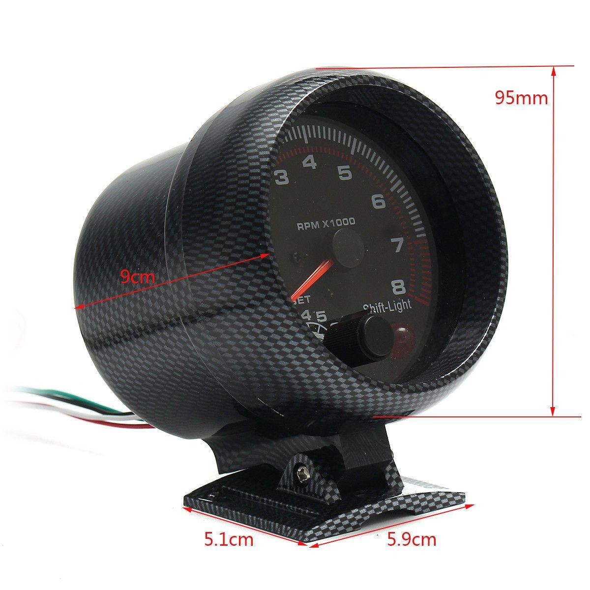 유니버셜 12V 범용 자동차 차량 3.75 ''타코미터 타코 게이지 승 / 시프트 빛 0-8000RPM