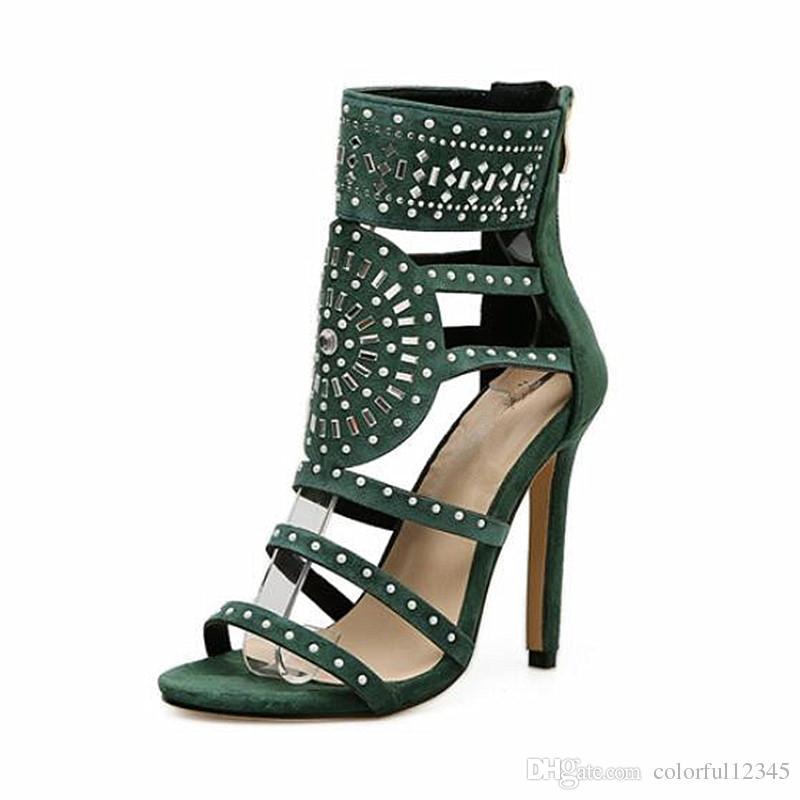 Spitze 40 Sandalen Kristall Design Frauen High Wrap Knöchel Strass Heel Gladiator Diamant Offene 35 Schwarz Sandaletten Größe A43L5Rj