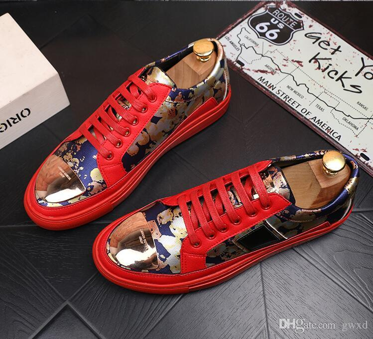 2018 New style Men Shoes Lace-up red black white embroidery Leather Real Leather Mens Moccasins Italian Design Loafers Shoes G13