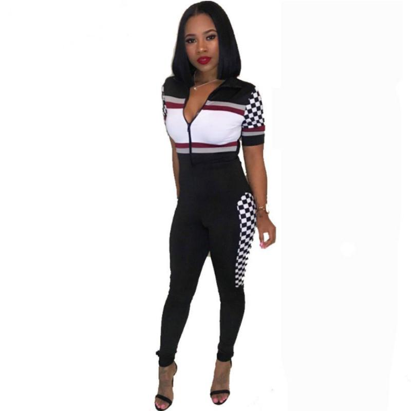 1f8d50109ff3 2019 Short Sleeve Sexy Jumpsuit 2018 Summer Print Body Feminino Full Length  Overalls Bodycon Elegant Rompers Womens Jumpsuit From Benedica, $24.97 |  DHgate.