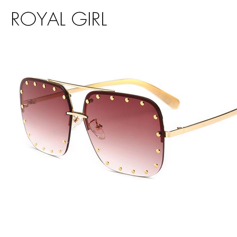 0839738785c ROYAL GIRL Vintage Rivet Sunglasses Women Luxury Square Rimless Sun Glasses  Female Brand Designer Gradient Eyewear UV400 SS781 D18102305 Cheap  Eyeglasses ...