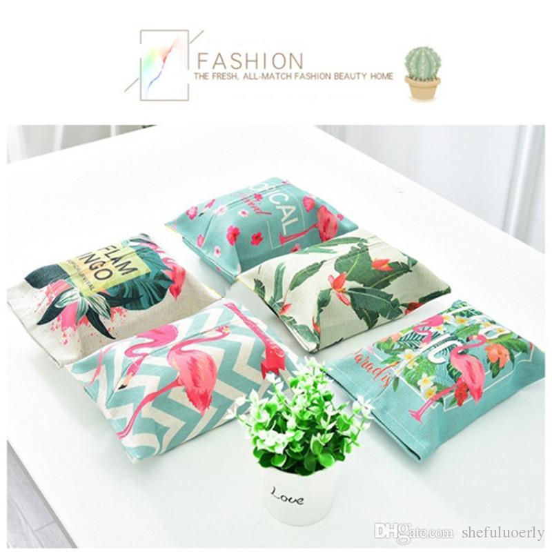 Heißer Verkauf Instagram Stil Flamingo Tissue Cover Bunte Haushaltswaren Leinen Tissue Case Auto Removable Paper Box 1 Stücke