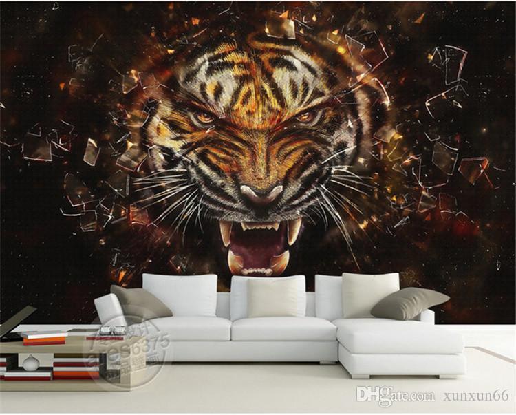 Retro wall cloth environmental waterproof wallpaper custom direct sales tiger wallpaper sofa wall living room restaurant TV wall special