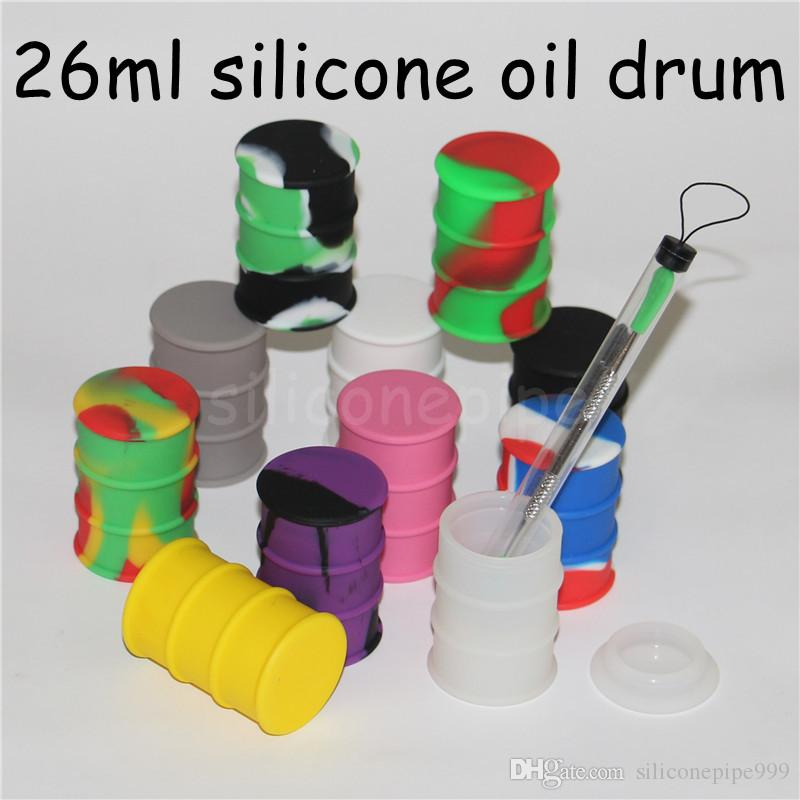 Non stick large 26ml silicone oil container dab wax oil concentrate silicone oil barrel drums silicone wax jars glass bong