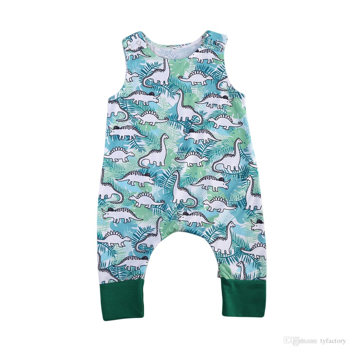 92c6743c5cf1 2019 2018 Newborn Infant Baby Boys Dinosaur Onesies Romper Jumpsuit  Sleeveless Green Kids Outfit Bodysuit Boutique Summer Casual Kid Clothing  From Tyfactory ...