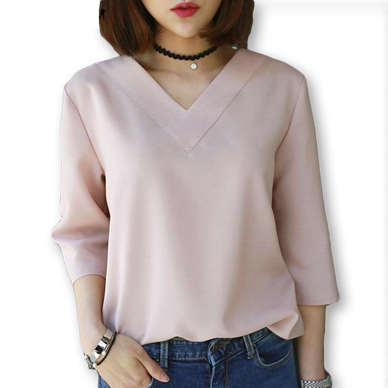 68f4833fd01 2019 Summer Tops V-neck Chiffon Blouse Shirt Women Office Ladies Top ...