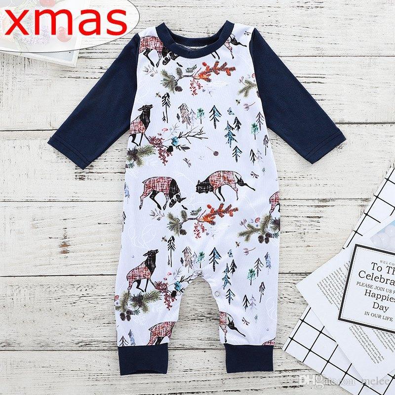 2019 0 2y Ins Xmas Christmas Elk Santa Full Print Baby Rompers