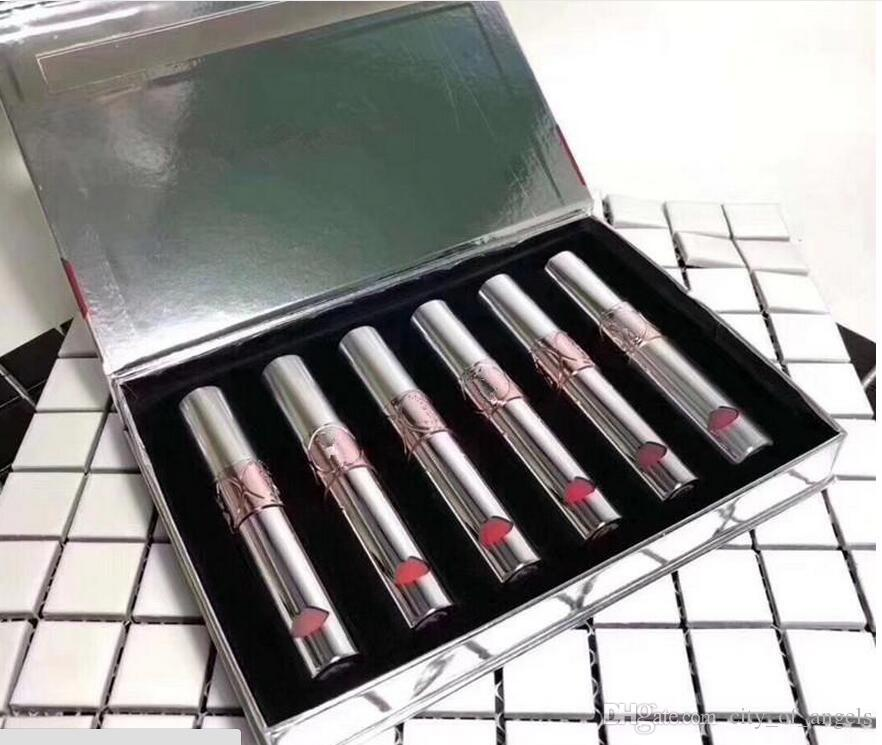 NEW Hot makeup Brand Y Lip set Liquid Colour Blam 6colors silver Pipe Lip Golss kit 6pcs/set Lipstick with Gift Box