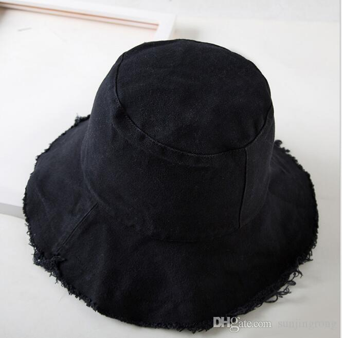 c8492d3da41 Summer Women Denim Stingy Brim Bucket Solid Beach Hat for Ladies ...