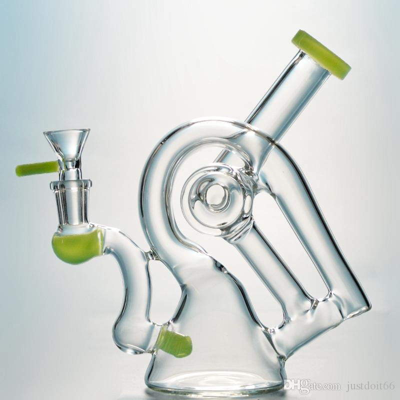 Factory Outlet Heady Dab Rigs Sidecar verre Pipes eau recycleur Rigs Unique Oil Rig verre Violet Bongs