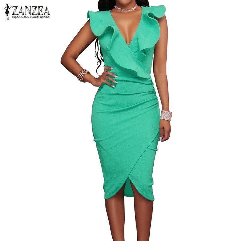 2279e081d274d ZANZEA 2018 Women Summer Dress Sexy Sleeveless V Neck Pencil Party Dresses  Ladies Ruffles Bodycon Slim Midi Club Vestidos Y1890601
