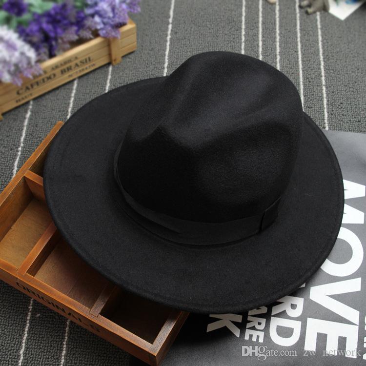 Новая мода ретро Войлок джаза шляпа цилиндров для мужчин, женщин Элегантного Твердого войлок Fedora Hat Ленточных Широкой плоского Брим Джаз Шляпа Панама Caps