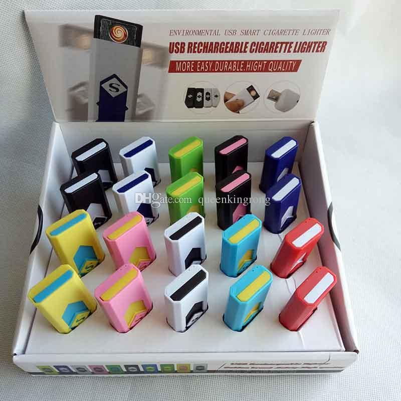 Cigarro eletrônico recarregável usb flameless charuto isqueiro com caixa de exibição também oferecem isqueiros a gás tocha de arco fumar ferramentas acessórios