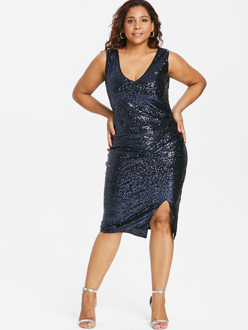 2840854bc427d Wipalo Women Plus Size Sexy V Neck Sequined Sheath Dress Side Split Sparkly  Party Tight Bodycon Dress Female Club Vestidos 5XL