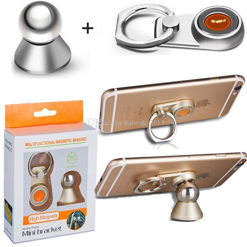 360 Phone Holder 2 em 1 Gato metal dedo anelar Strong Magnet Magnetic 360 Rotating Car Use Phone Holder GPS Mount suporte Mesa com Retail Box