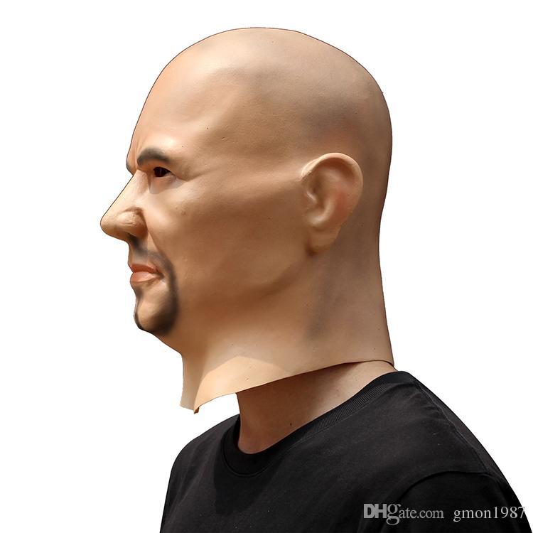 Realista Artificial Hombre cosplay Máscara de látex Capucha Overhead Pelucas barba Disfraz de piel humana Broma Traje de cosplay Vestido de lujo Delux Cara de hombre