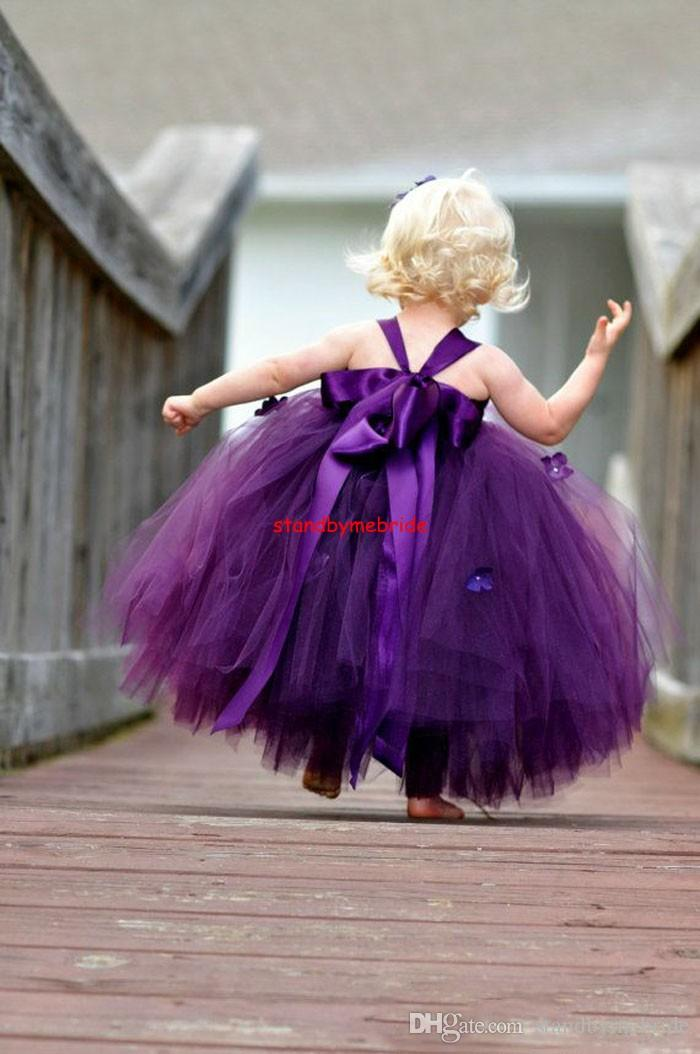 Vintage Purple Flower Girls Dresses 2018 Strapless Ball Gown Little Flowers Girl Dress Long Wedding Party Communion Gowns Pageant lace Tutu