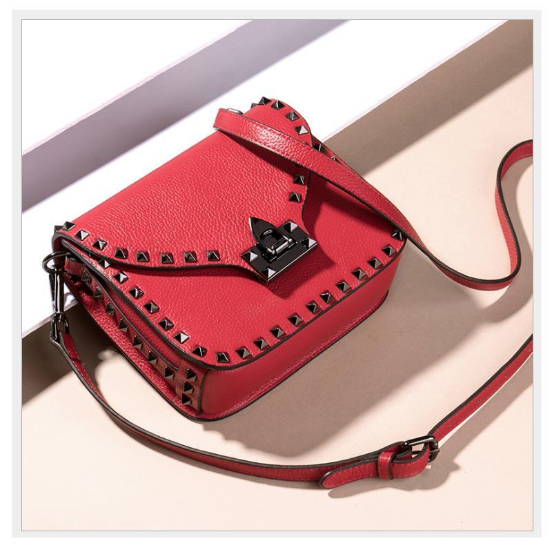 Women Bag Luxury Enuine Leather Female Autumn Shoulder Bags Vintage Ladies  Bags Brands Designer Rivet Handbags Totes Bag Purses Designer Handbags From  ... 7a44224d63