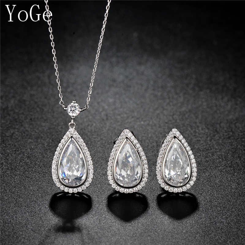 2dd1682fd865b YoGe S1031 Luxury AAA cubic zirconia micro pave setting waterdrop stone  necklace and stud earrings set for women