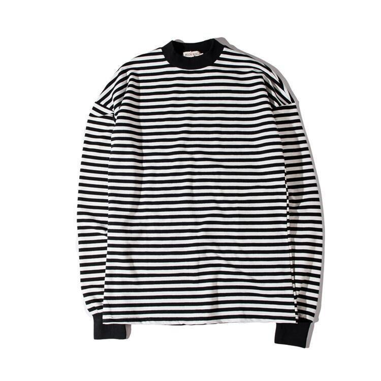Oversized Men T-Shirt Crew Neck Striped Casual Longlines Sleeve T-Shirts Long Plain Tee Shirt Street Wear