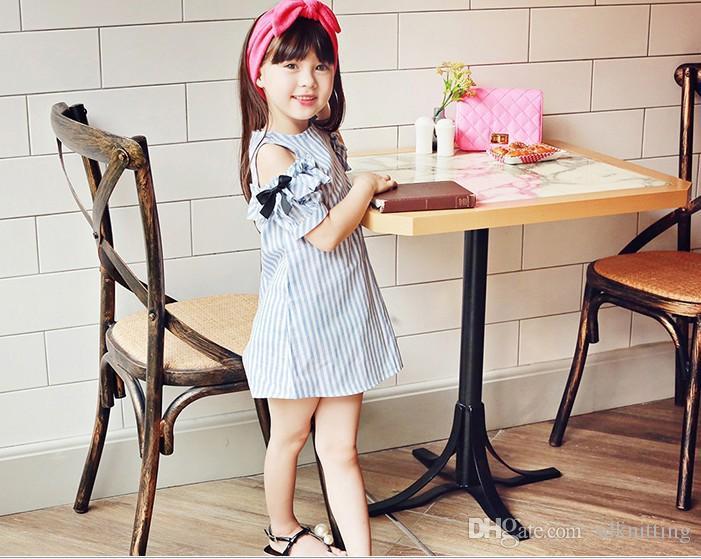 Estilos de coreano bebê menina Nua ombro vestido infantil menina de Algodão tarja sem mangas vestido roupas de bebê Frete Grátis