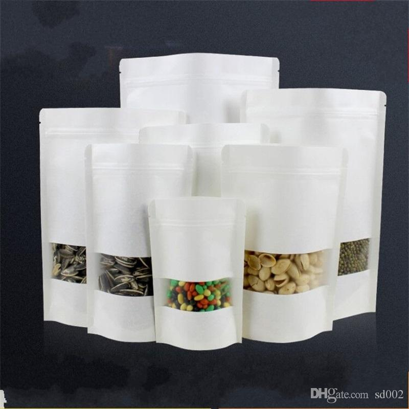 White Kraft Paper Packing Bags Seal Up Grind Self Sealing Food Grade  Moisture Proof Supporting Bag Portable Heat Resistant 0 68xe10 jj