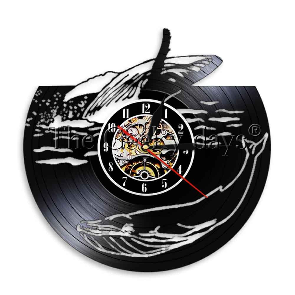 Two Whalels Vinyl Clock Ocean Animals Led Lights Home Decor Sea Life ...
