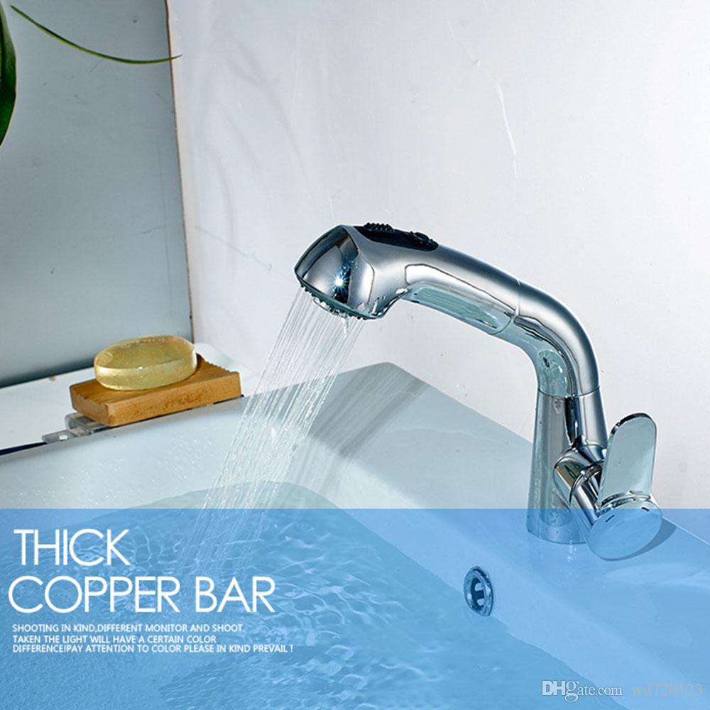 Modern Swivel Pull Out Basin Faucet With Shower Stretching Head ...