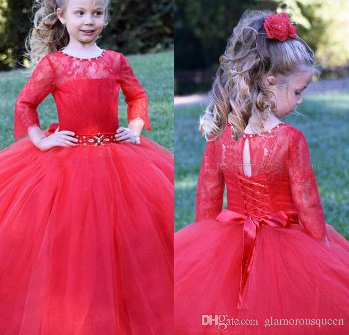 f8c0dc414e5b8 Long Sleeves Red Flower Girls Dresses Lace Tulle Ball Gown Girls Pageant  Dresses Crystal Ribbon Sash Children Wedding Birthday Party Dresses