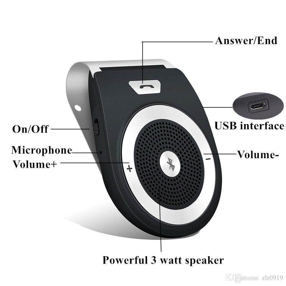 Bluetooth Car Kit HandsFree Wireless Motion AUTO POWER ON Speakerphone Upgraded Speaker Audio Receiver Sun Visor Music Player Adapt