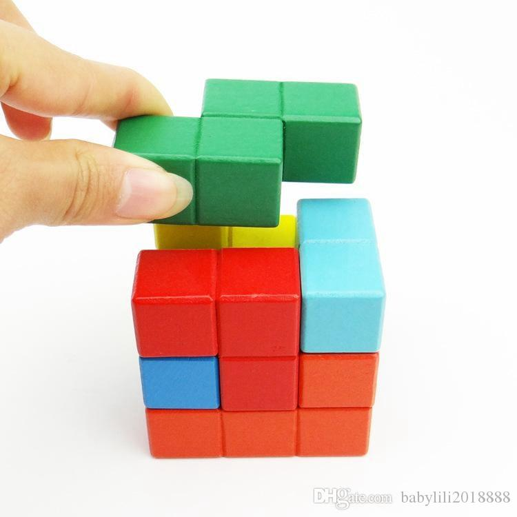 Colorful Cubic Building Blocks Natural Wood Puzzles Wooden Bricks Set for Kids Early Childhood Educational Wood Toys
