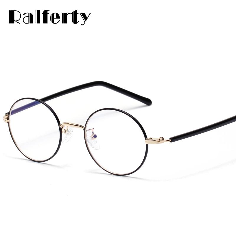 6055fcd841a Ralferty Vintage Round Eyewear Frame Women Men Gold Black Optical Frames  Clear Lens Eyeglasses Female Small Myopia Points X1319 UK 2019 From Haroln